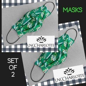 Face Mask  UNC Charlotte UNCC SET OF 2